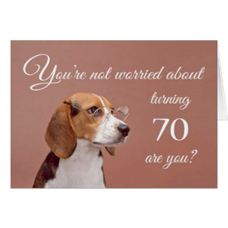 Happy 70th birthday, worried beagle greeting card