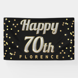 Happy 70th Bling Typography Gold Confetti Black