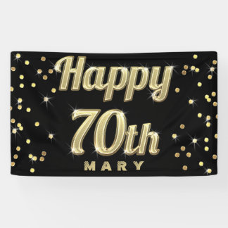 Happy 70th Gold Bling Typography Confetti Black Banner