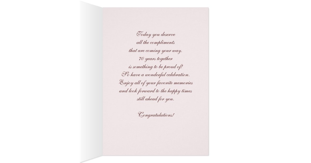 70 Year Wedding Anniversary Gifts: Happy 70th Wedding Anniversary Greeting Cards