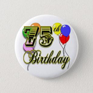 Happy 75th Birthday Celebration 6 Cm Round Badge