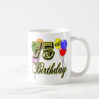 Happy 75th Birthday Celebration Basic White Mug
