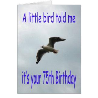 Happy 75th Birthday Flying Seagull bird Card