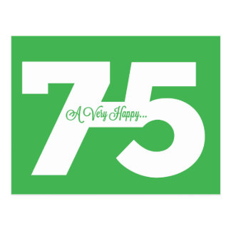 Happy 75th Birthday Milestone Postcards - in green