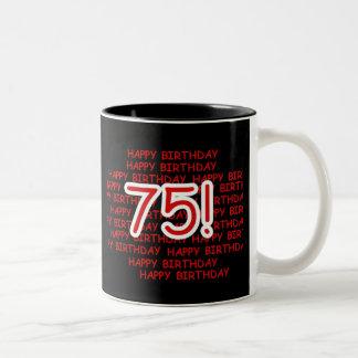 Happy 75th Birthday Two-Tone Mug