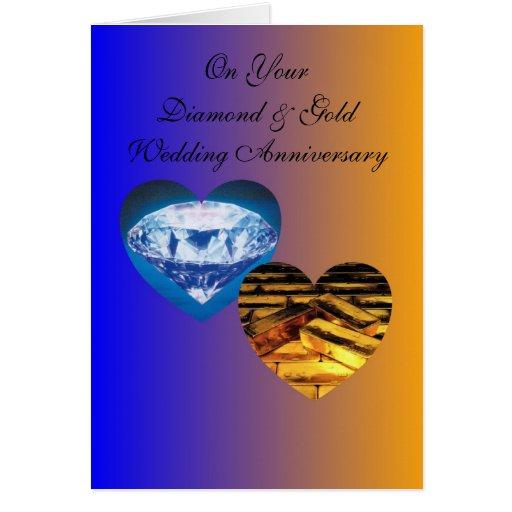 Happy 75th Wedding Anniversary Card Diamond & Gold