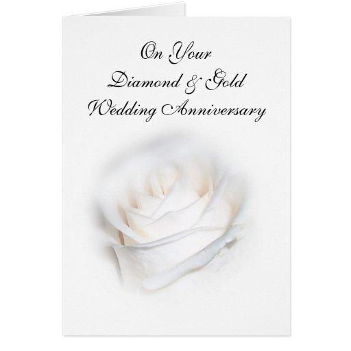 Happy 75th Wedding Anniversary Card White Rose