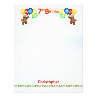 Happy 7th Birthday Bear Scrapbook Paper 2 Flyer Design