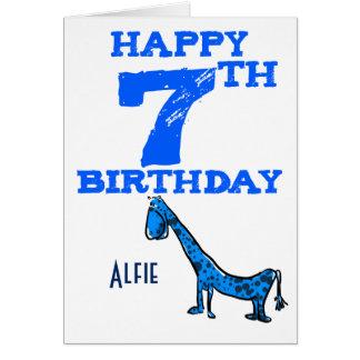 Happy 7th birthday cartoon dinosaur - boy card