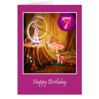 Happy 7th Birthday for girl with fairy seventh Greeting Card