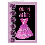 Happy 7th Birthday Princess - Pink Dress & Candles Greeting Card