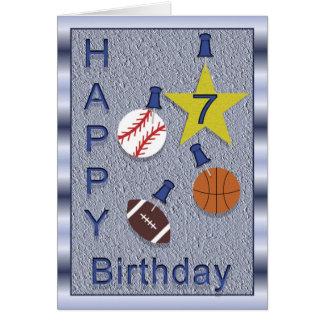 Happy 7th Birthday Sports Theme Greeting Card