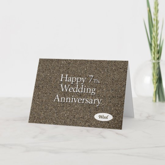 7th Wedding Anniversary.Happy 7th Wedding Anniversary Wool Card