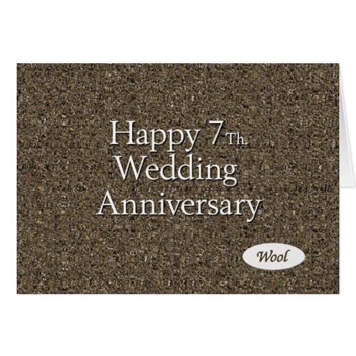 Happy 7th. Wedding Anniversary Wool Card