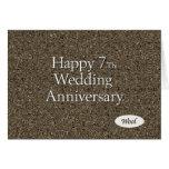 Happy 7th. Wedding Anniversary Wool Greeting Card