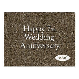 Happy 7th. Wedding Anniversary Wool Postcard