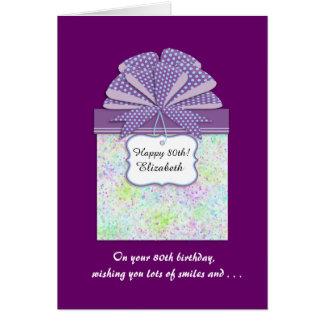Happy 80th Birthday 3 Panel Greeting Card