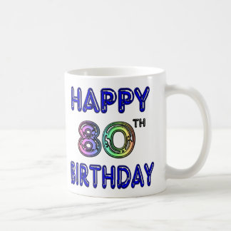Happy 80th Birthday Gifts and Birthday Apparel Basic White Mug