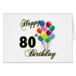 Happy 80th Birthday Gifts and Birthday Apparel Card