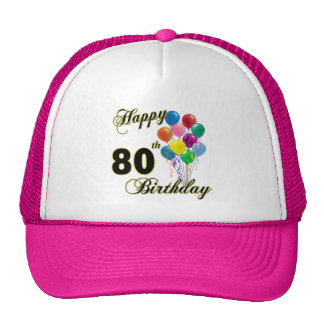 Happy 80th Birthday Gifts and Birthday Apparel Trucker Hat