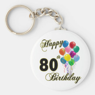 Happy 80th Birthday Gifts and Birthday Apparel Key Ring