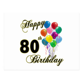 Happy 80th Birthday Gifts and Birthday Apparel Postcard