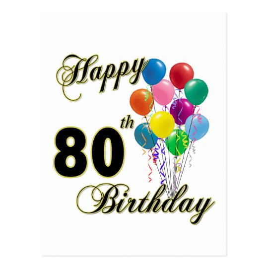 Happy 80th Birthday Gifts And Apparel Postcard