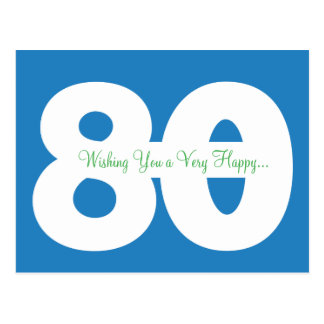 Happy 80th Birthday Milestone Postcards - in Blue