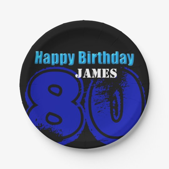 Happy 80th Birthday Personalised Paper Plates 7 Inch