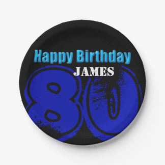 Happy 80th Birthday Personalized Paper Plates