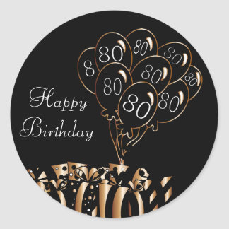 Happy 80th Birthday Round Sticker