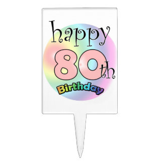Happy 80th Birthday roze Cake Toppers