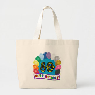 Happy 80th Birthday with Balloons Canvas Bags