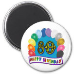 Happy 80th Birthday with Balloons Refrigerator Magnet