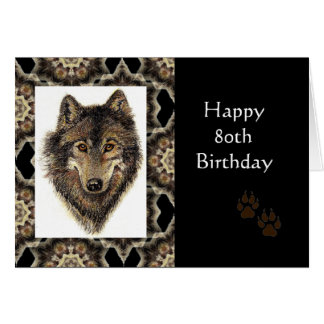 Happy 80th Birthday with Watercolor Wolf Card