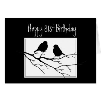 Happy  81st, Eighty-First, Birthday Two Birds Greeting Card