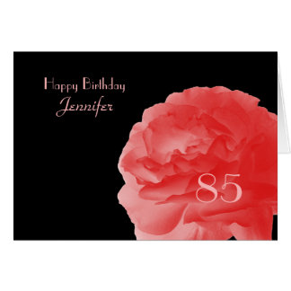 Happy 85th Birthday Greeting Card, Coral Rose