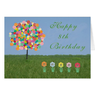 Happy 8th Birthday Card Bubblegum Tree