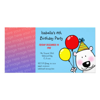 Happy 8th birthday party invitations personalised photo card