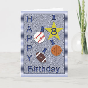 Happy 8th Birthday Sports Themed Card