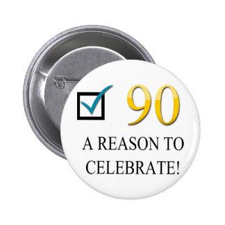 Happy 90th Birthday 6 Cm Round Badge