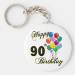 Happy 90th Birthday Gifts and Birthday Apparel Basic Round Button Key Ring