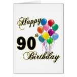 Happy 90th Birthday Gifts and Birthday Apparel Greeting Cards