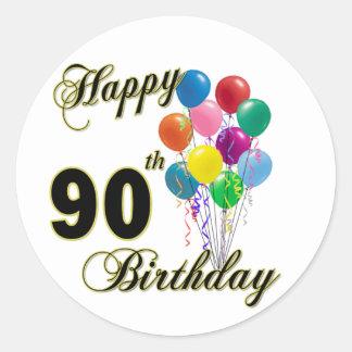 Happy 90th Birthday Gifts and Birthday Apparel Round Sticker
