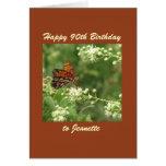 Happy 90th Birthday Greeting Card Butterfly Custom Card