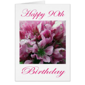 Happy 90th Birthday Pink and Green Flower Greeting Card