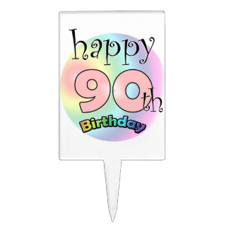 Happy 90th Birthday (pink) Cake Topper