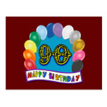 Happy 90th Birthday with Balloons Postcards