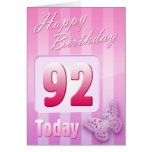 Happy 92nd Birthday Grand Mother Great-Aunt Mum Greeting Card