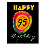 Happy 95 Birthday Colourful Gold Green Red Balloon Postcard